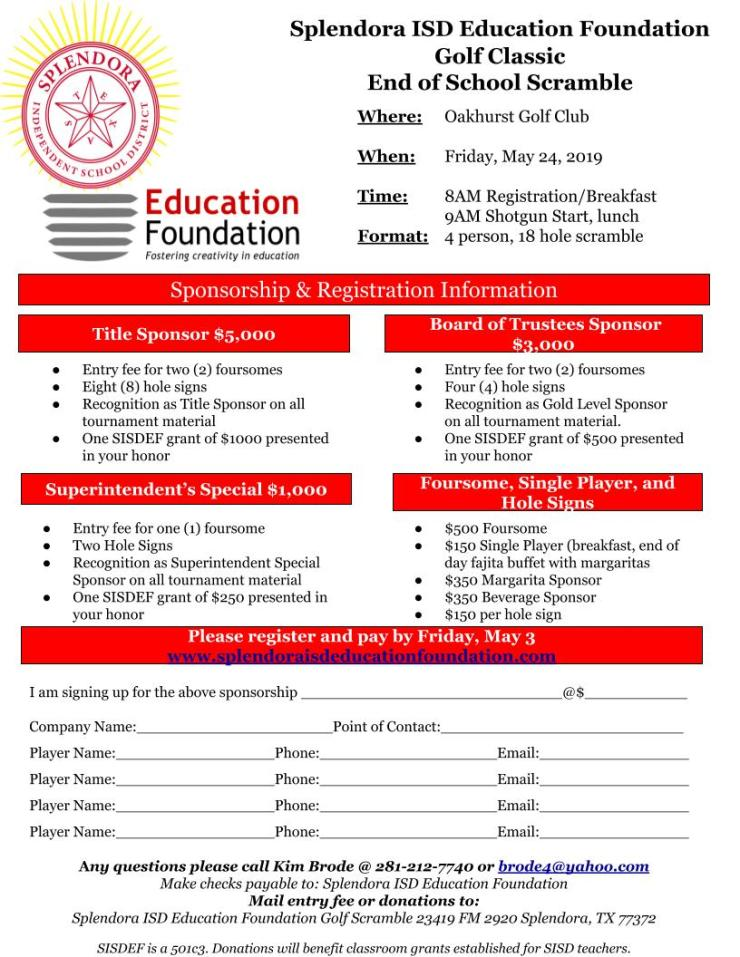SISD Education Foundation Golf Tournament – Splendora ISD